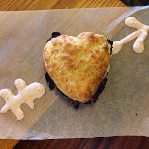 Neal's Deli Heart Pastrami Biscuit
