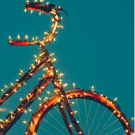 Bicycle Gift-Wrapped in Christmas Lights